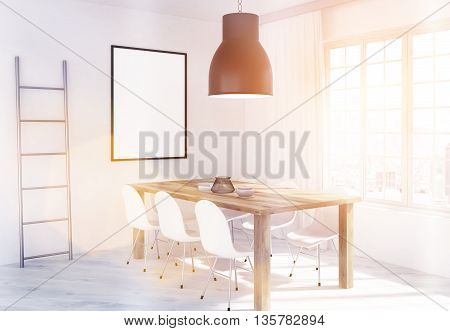 Dining area in kitchen interior with table chairs iron ladder blank picture frame ceiling lamp and window with curtains and New York city view. Toned image. Mock up 3D Rendering