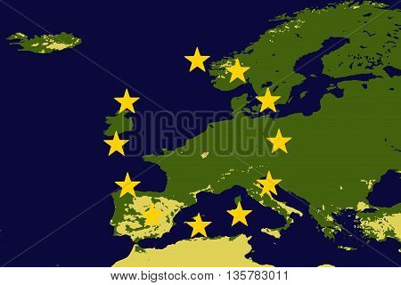 Europe or EU without the United Kingdom to illustrate the UK leaving the EU also known as Brexit - elements of this image furnished by NASA.
