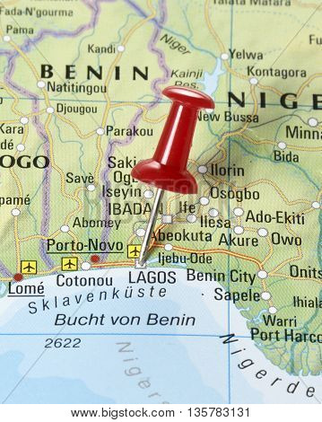 Map with pin set on Lagos, Nigeria.