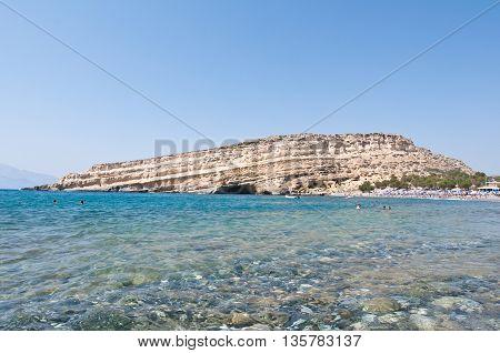 Libyan sea and the coast of Matala beach on the Crete island Greece.