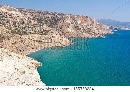 Libyan sea and the coast near Matala beach on the Crete island Greece.