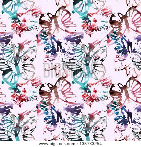 Beautiful abstract butterflies on pink background, seamless pattern