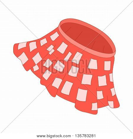 Red skirt with white squares icon in cartoon style on a white background