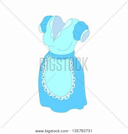Blue dress and white apron icon in cartoon style on a white background