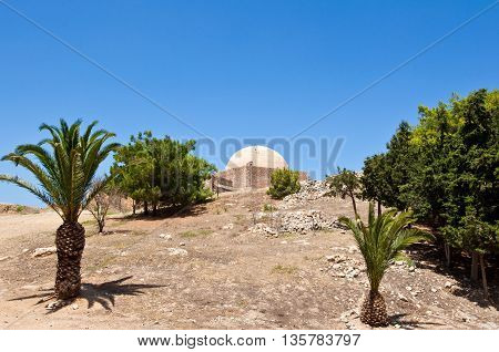 Sultan Ibrahim mosque dome on the top of the Fortezza. Crete Greece.