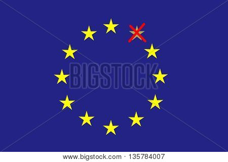 On the blue horizontal rectangle formed a circle of twelve yellow stars one of which is red crossed out. Fantasy on a theme leaving the European Union.