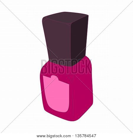 Purple nail polish bottle icon in cartoon style on a white background