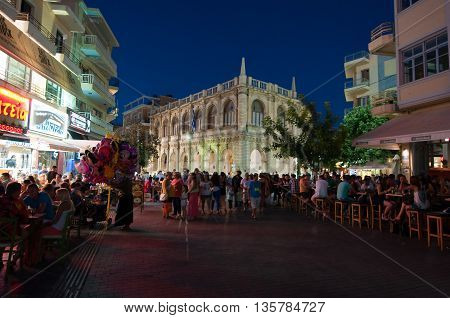 CRETEHERAKLION-JULY 24: Nightlife on Lions Square on July 242014 on the Cete island Greece. Lions Square is a square in HeraklionCrete.