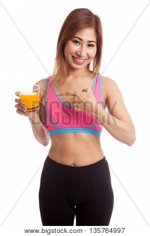 Beautiful Asian Healthy Girl Point To Orange Juice