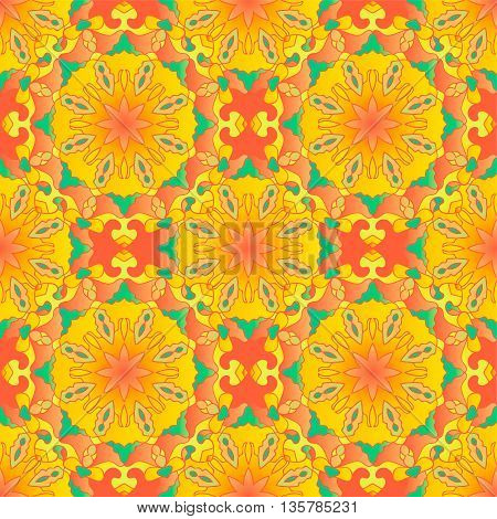 Seamless pattern. Decorative pattern in beautiful bright colors with gradients. Vector illustration