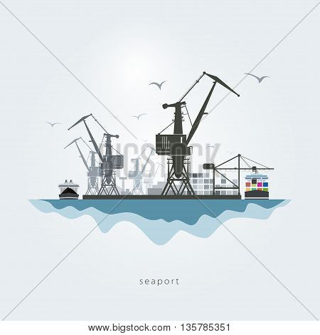 Seaport with cranes, the container carrier and the cargo ship