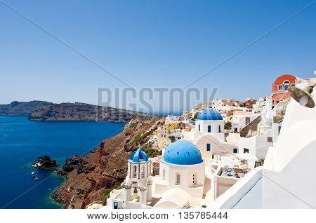 Churches on the edge of the caldera on the island of Santorini Greece.