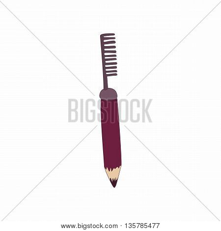 Cosmetic pencil with comb icon in cartoon style on a white background