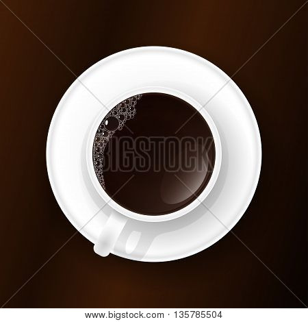 Cup of coffee or tea with foam on the table