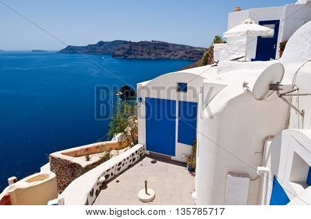 Oia town apartment on the edge of the caldera on the island of Thera also known as Santorini Greece.
