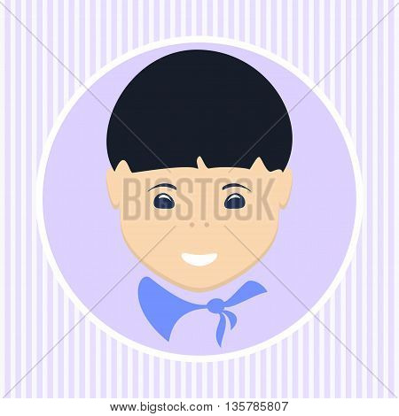 Face of the Asian boy in a round shape