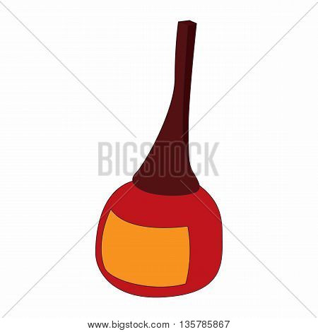 Red nail polish bottle icon in cartoon style on a white background