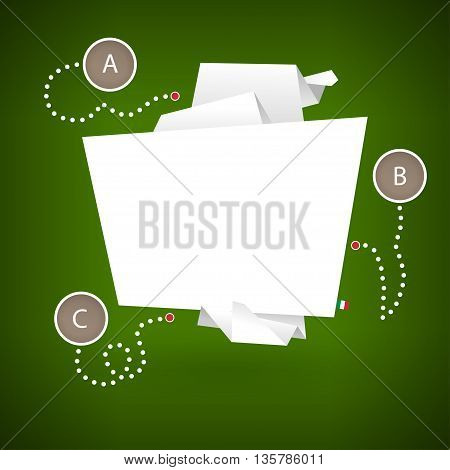 Banner in the form of origami paper on a green background with elements of info-graphics