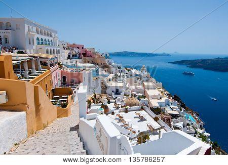 SANTORINIFIRA-JULY 28: View of Fira on July 282014 in Fira town on Santorini Greece. Fira is the modern capital of the Greek Aegean island Santorini.