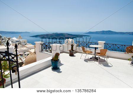 Idyllic patio in Fira capital on the island of Thera(Santorini) Greece.