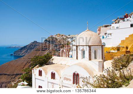 Fira Orthodox church on the edge of caldera. Thera (Santorini) Greece.