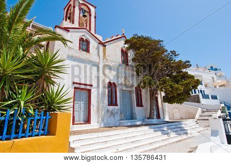 Orthodox church in the capital of Thera also known as Santorini Fira Greece.