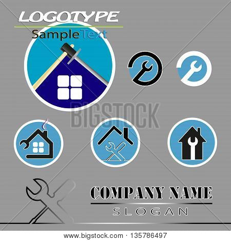 vector set of various templates, logo for firms which build, renovate houses, apartments, villas turnkey