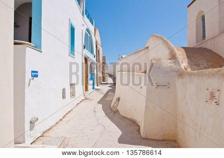 Typical street in Fira town on the Santorini island Greece.