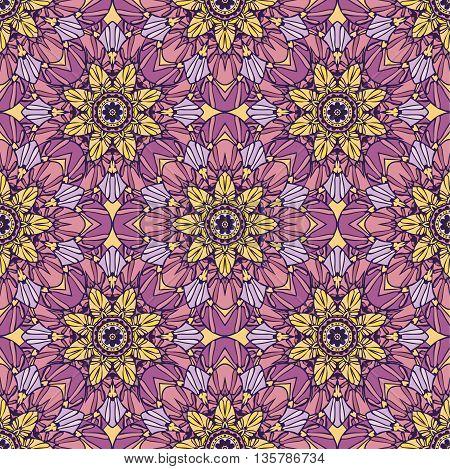 Seamless pattern with beautiful Mandalas. Vector illustration