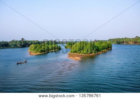Beautiful travel Backwater scenery from Kerala, India