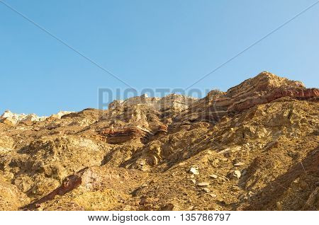 Detail of the rock on the island of Santorini Greece.