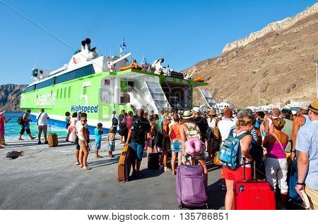 SANTORINI-JULY 28: People leave the Santorini on July 28 2014 from the port of Thira. Santorini Greece.