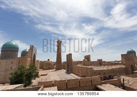 Poi Kalon mosque and minaret in Bukhara.
