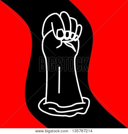 The hand clenched in a fist on a wavy black red background