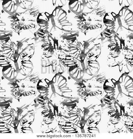 Beautiful abstract butterflies in black and white, seamless pattern