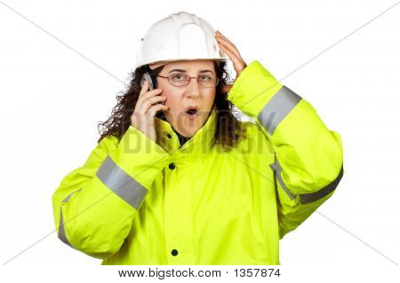 Worried Female Construction Worker