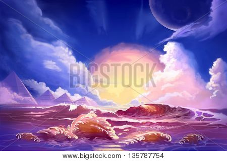 Watercolor Style Video Game Digital CG Artwork Concept Art Illustration Set 4: Scenery of Alien Planet from Sea. Realistic Fantastic Cartoon Style Character, Background, Wallpaper, Story, Card Design