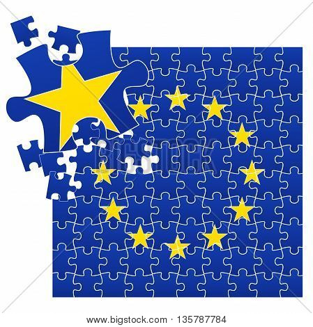 Vector illustration of European Union flag divided on jigsaw puzzle pieces with broken left corner with one star symbolizing BREXIT EPS 10