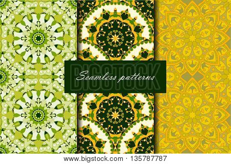 Set with three seamless patterns. Decorative vintage patterns with mandalas. Vector backgrounds