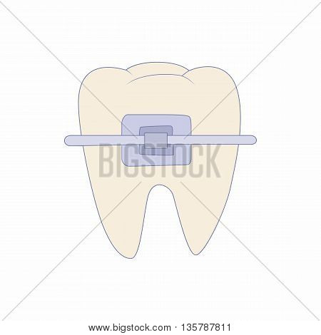 Braces on tooth icon in cartoon style on a white background