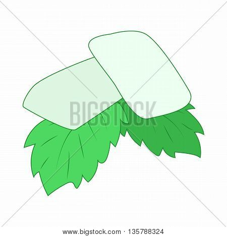 Chewing gum with fresh mint leaves icon in cartoon style on a white background