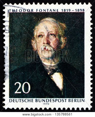 GERMANY - CIRCA 1970: a stamp printed in the Germany Berlin shows Theodor Fontaine Poet and Writer Painting by Hanns Fechner circa 1970