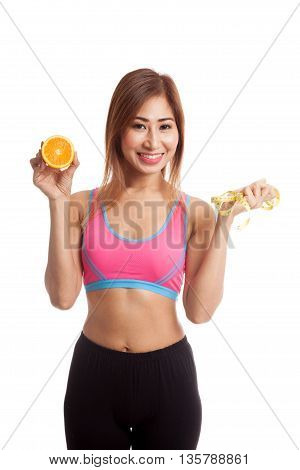 Asian Healthy Girl On Diet With Orange Fruit And Measuring Tape