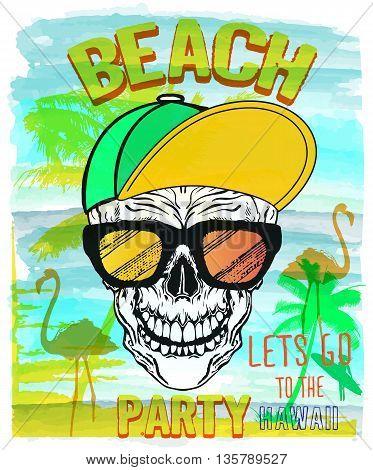 Vector Illustration of Skull Summer and beach