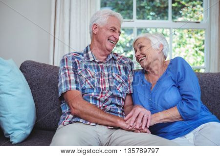 Happy senior couple holding hands while sitting on sofa at home
