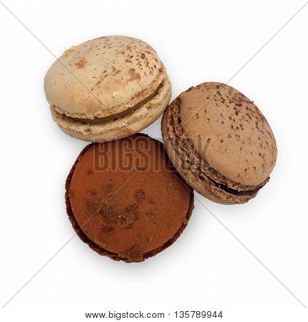 Three Beige Macarons