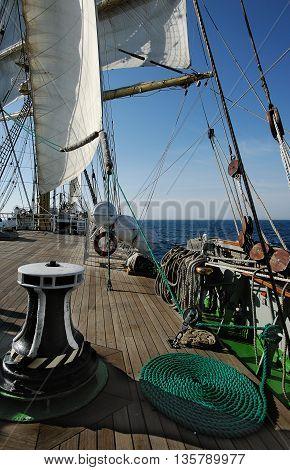Rigging of a sailing ship, ropes, sails