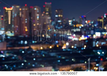 Blurred bokeh lights city building, abstract background
