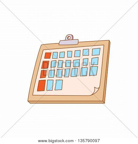 Tablet folder icon in cartoon style isolated on white background. Office supplies symbol