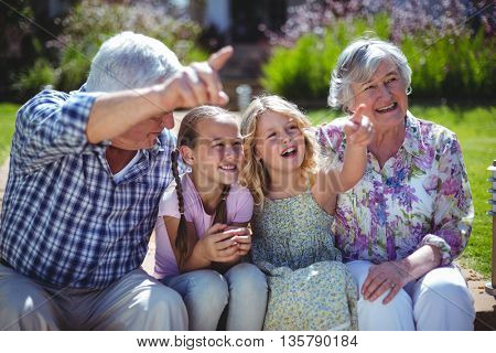 Cheerful girls with grandparents while sitting in back yard during sunny day